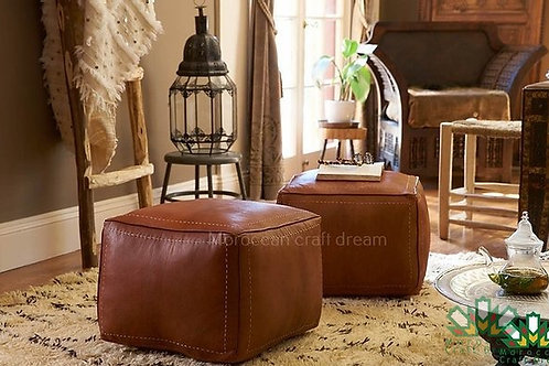 LUXURY LEATHER SQUARE OTTOMAN TAN SP1BR (Without Stitching)