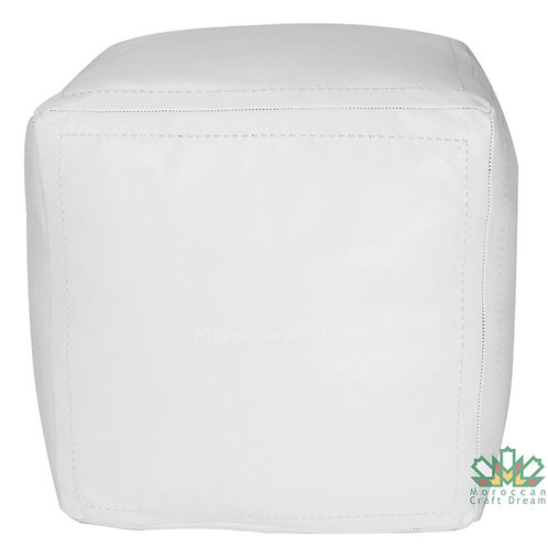 SET OF 2 LUXURY LEATHER SQUARE OTTOMAN WHITE SP1WH