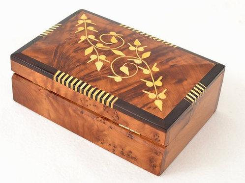 Hand-Carved Rustic Jewelry Box, Moroccan Thuya Wood Box, Memory Box, Keepsake