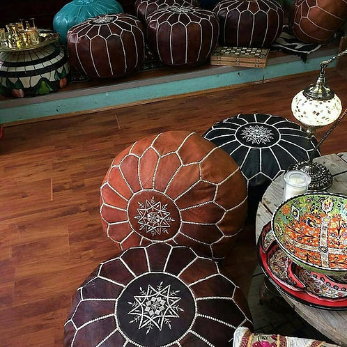 SET OF 2 MOROCCAN POUFS MULTICOLORS (Vegan Leather) Medium Thickness of Goatskin