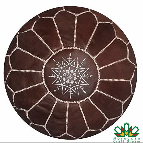 LUXURY LEATHER OTTOMAN CHOCOLATE RP1CH