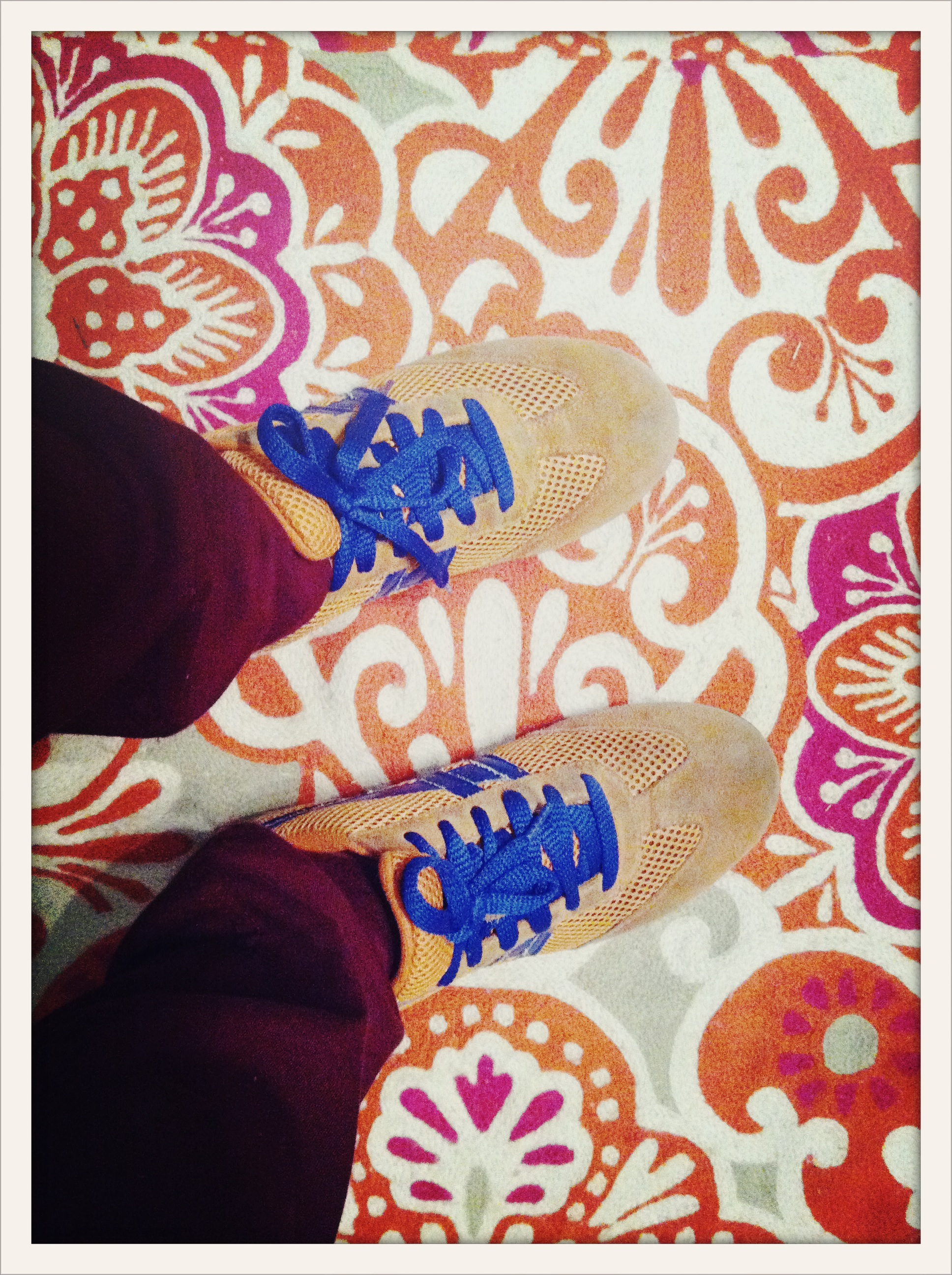 Payless sneakers on Anthro rug