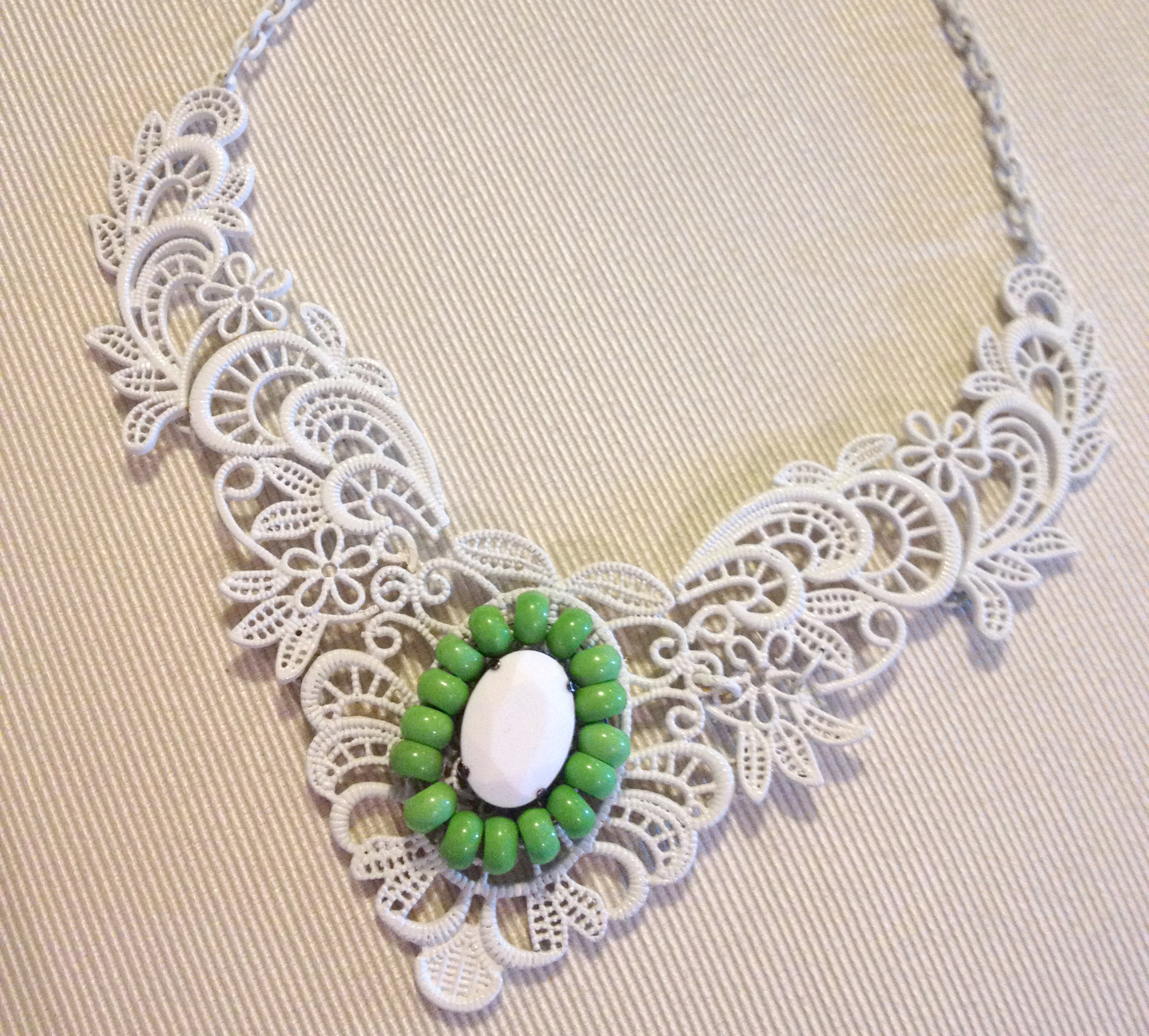 Metal Lace Bib Necklace