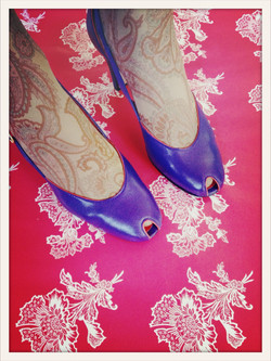 vintage pumps on hot pink