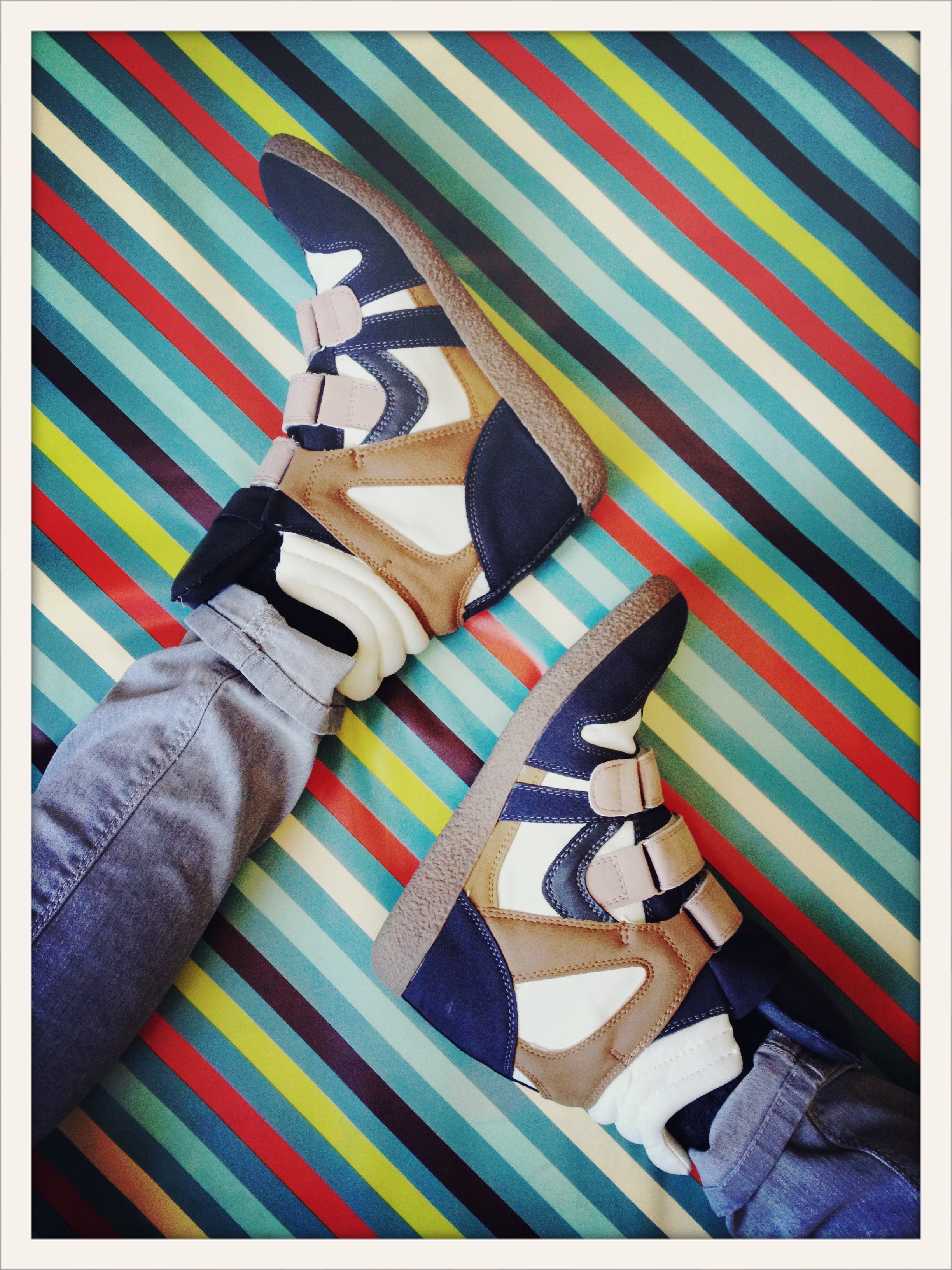wedge sneakers on stripes