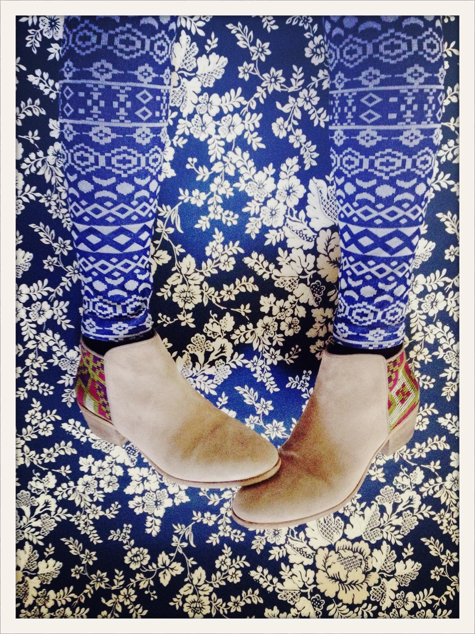 kilim pattern booties on floral