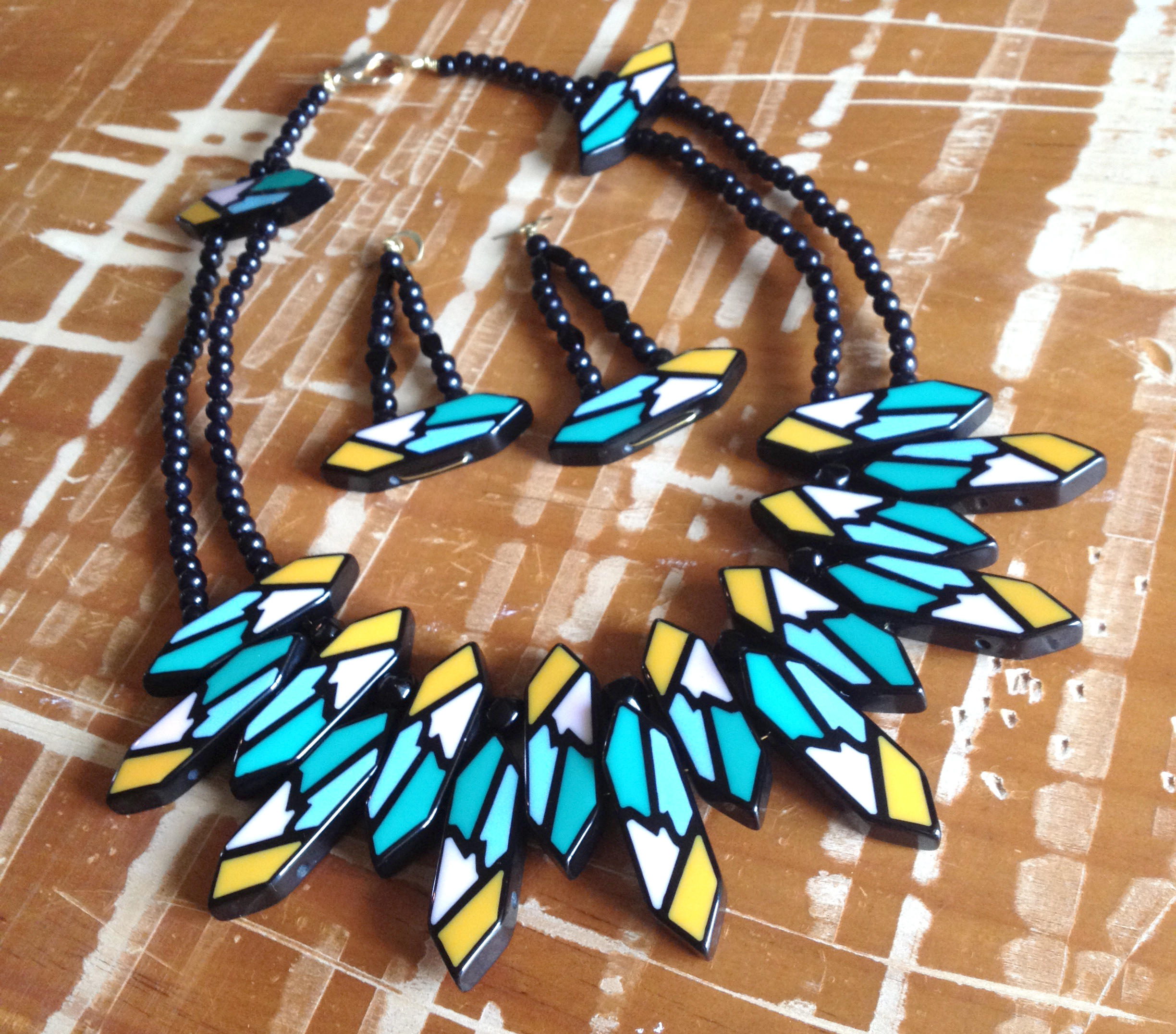 Tribal Bib Necklace & Earring Set