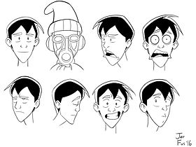Ben Character facial expressions (inked)