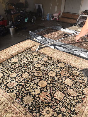 A carpet being cleaned