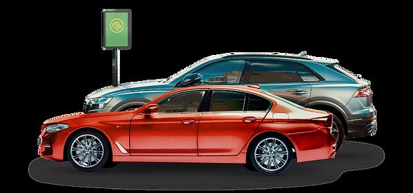 Two cars waiting at a car sharing lot, like Zipcar.