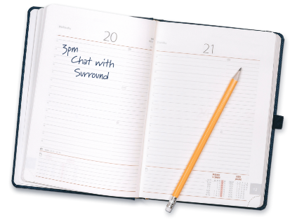 Planner. A chat with Surround is in the itinerary.