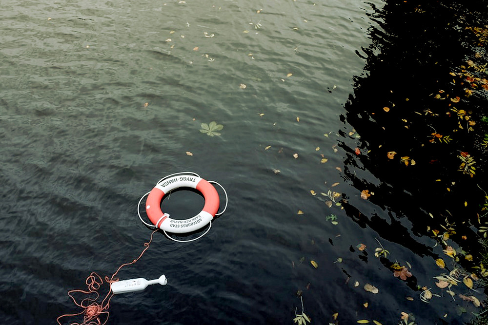Photo of a life preserver in water