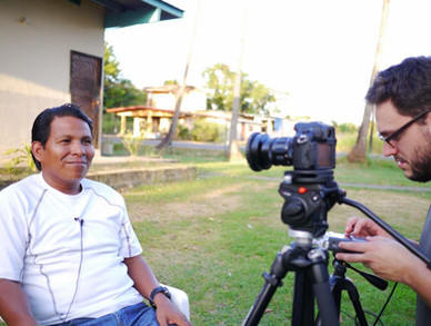 """""""The Trocha"""" Director, Ian Bell, interviewing lawyer Leonides Quiroz."""