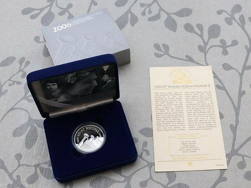 Solid Silver Proof £5 Coin Queen Elizabeth 80th Birthday