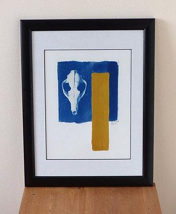 Blue Skull with gold (Framed Print)