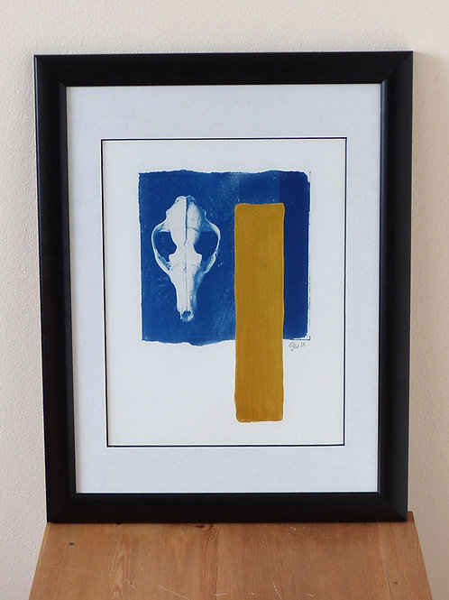 Blue Skull with gold (Framed Print)