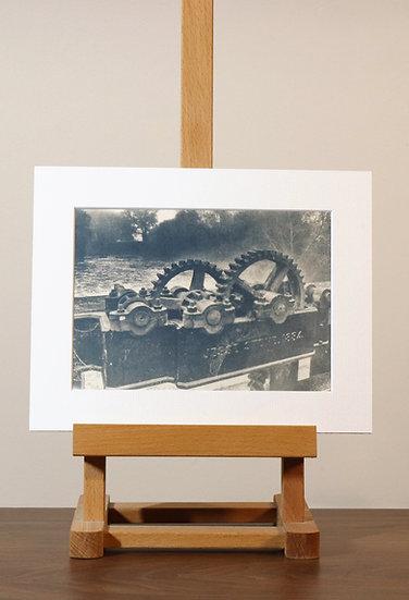 Lock Gears Mounted Cyanotype Print
