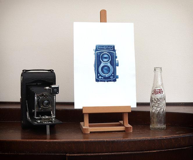 Vintage Camera Cyanotype (Original handmade print)
