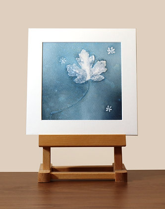Leaf Mounted Wet Cyanotype Print