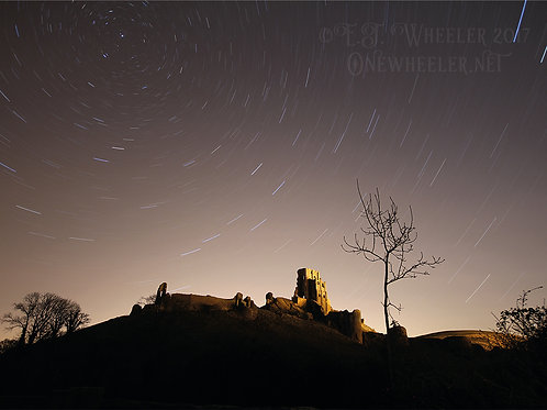 Corfe Castle at Night (Greeting Card)