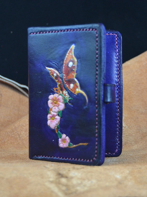 Butterfly Design Leather Card Holder