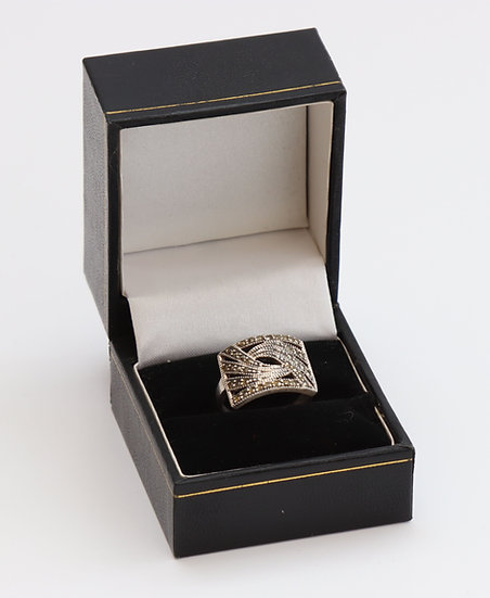 Art Deco style silver and marcasite ring