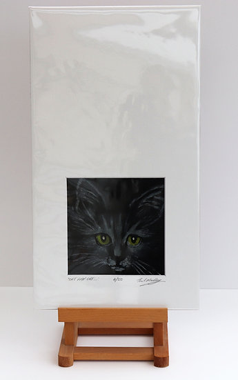 Cat Flap Cat (Print of Wax Painting)