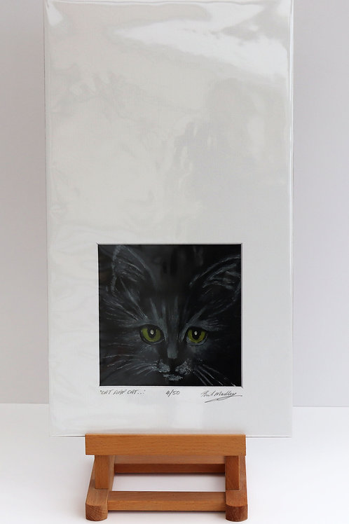 Cat Flap Cat (Print of Wax Painting)