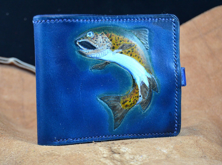 Trout Fishing Leather Wallet