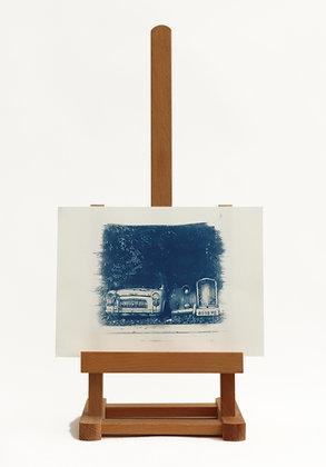 Old Cars Cyanotype Print