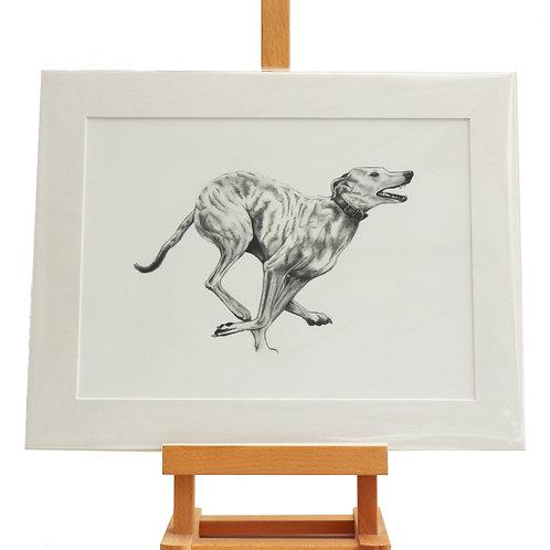 Running lurcher mounted print