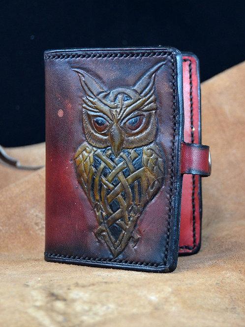 Owl Design Leather Card Holder