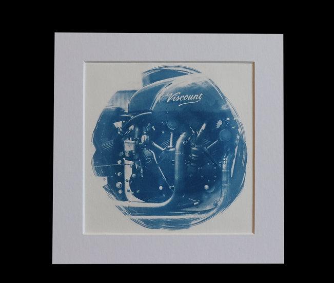 Viscount Motorcycle Cyanotype Print