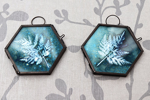Pair of small framed Wet Cyanotypes