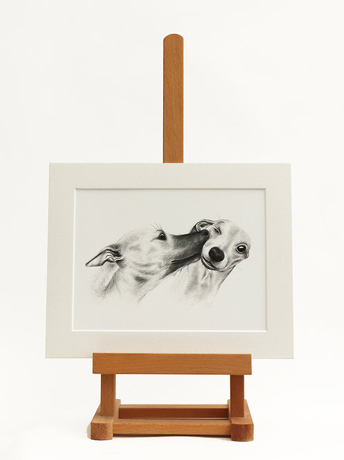 Whippets mounted print (Small)