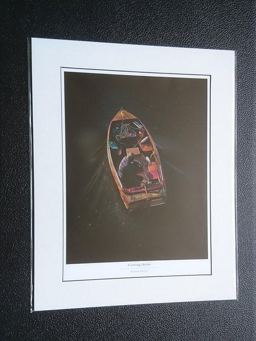 Boat Man Mounted Print