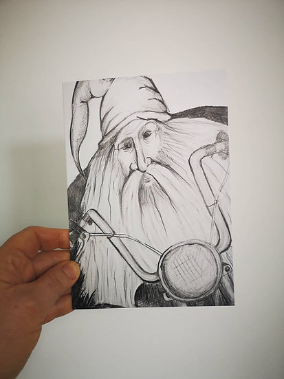 Motocycle Wizard (Greeting Card)