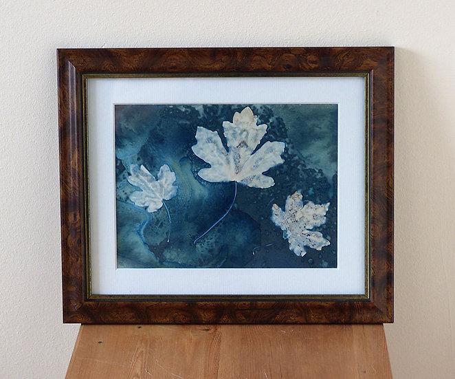 Three Leaves (Framed Wet Cyanotype Print)