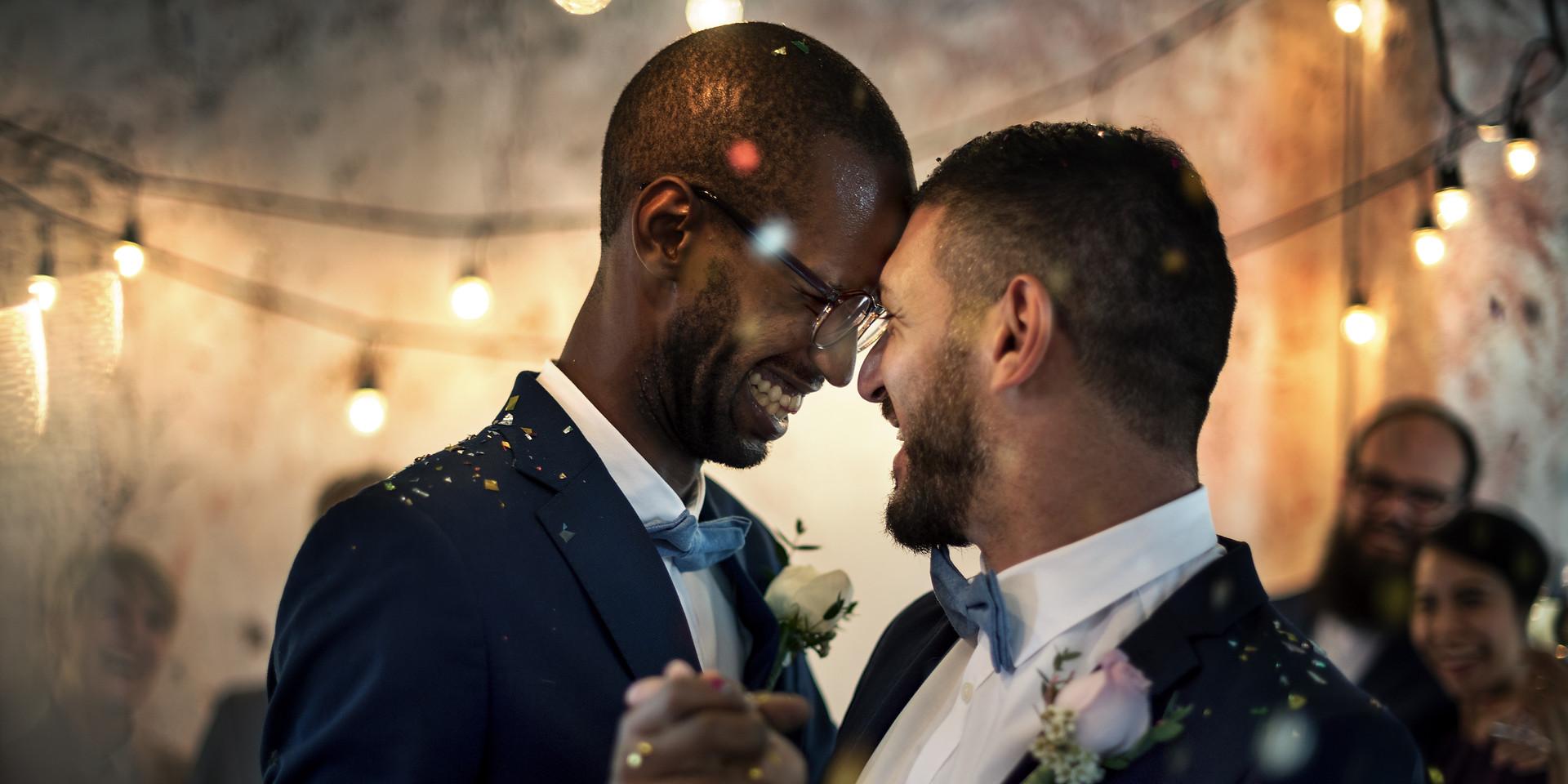 Newlywed couple celebrating