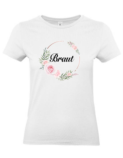 Braut Shirt 'Blumenkranz' - JGA