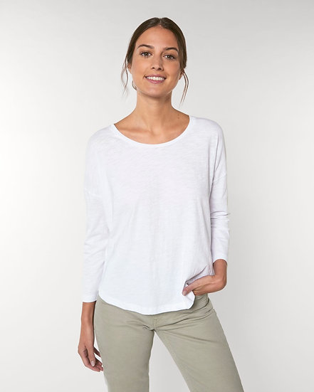 Womens 3/4 Sleeve Dropped Shoulder T-Shirt