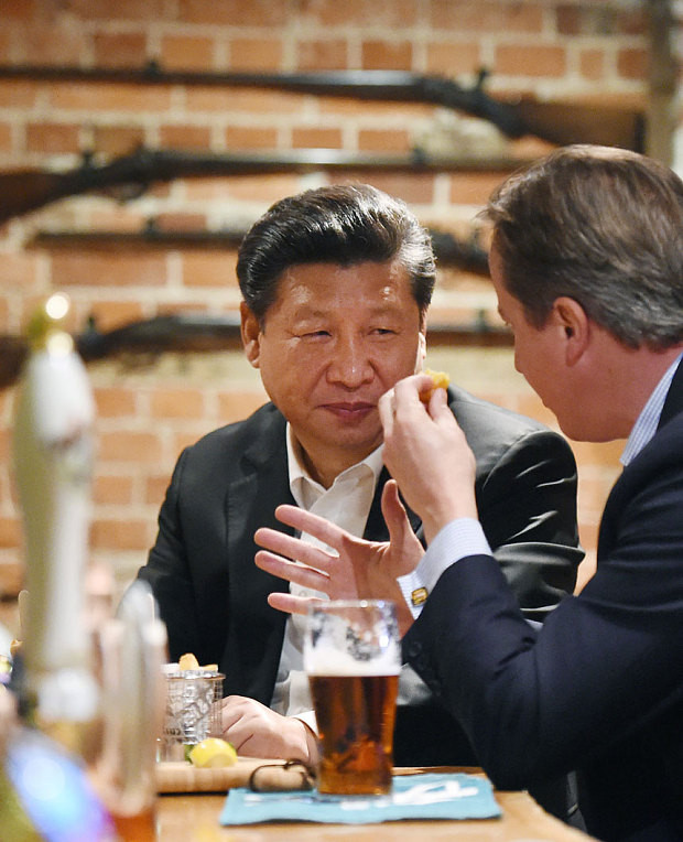 Xi and Cameron in pub