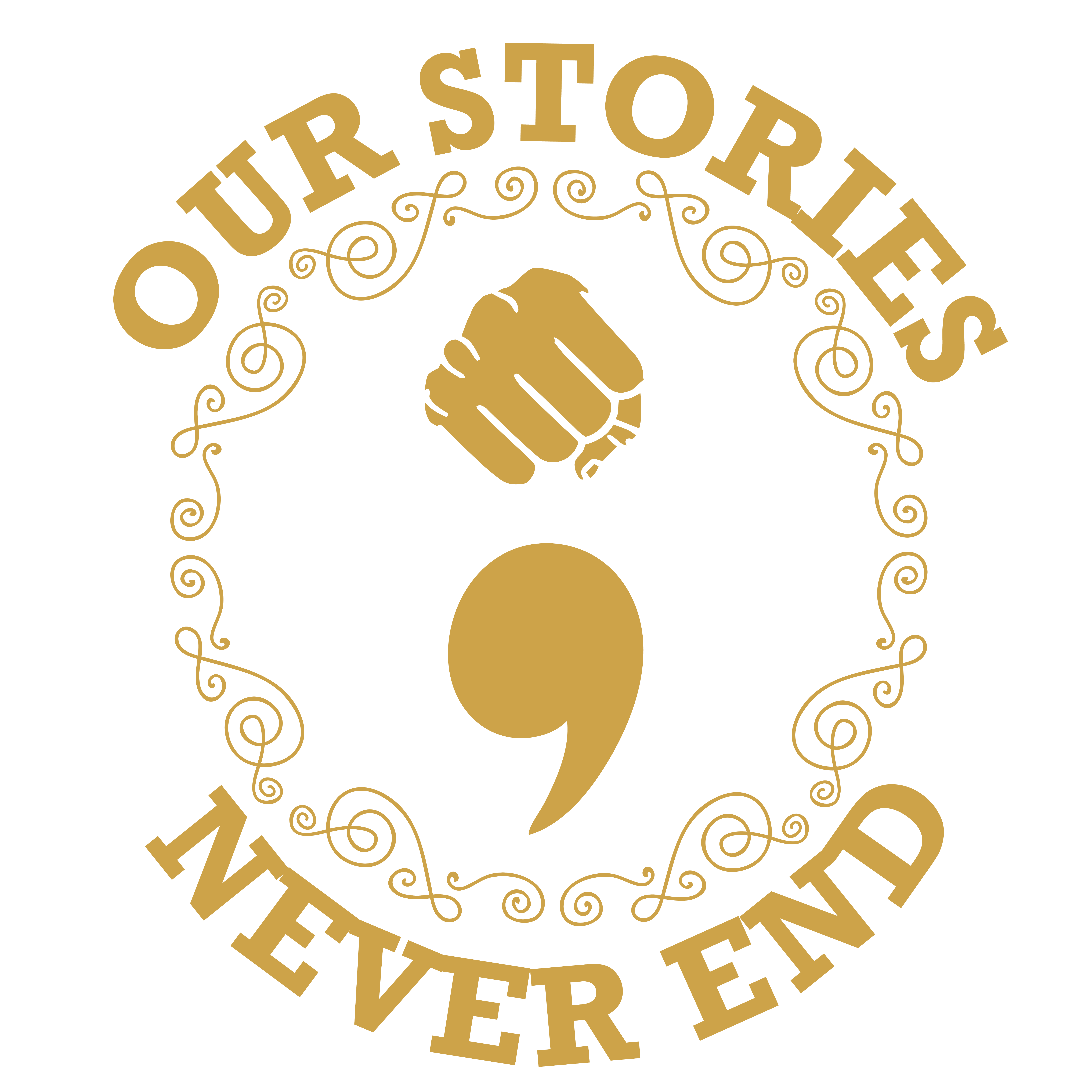 Our Stories Never End round logo