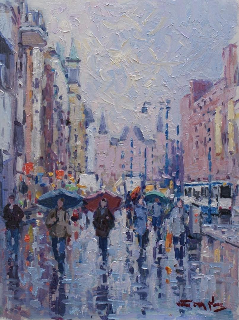 Regen op het Damrak Amsterdam