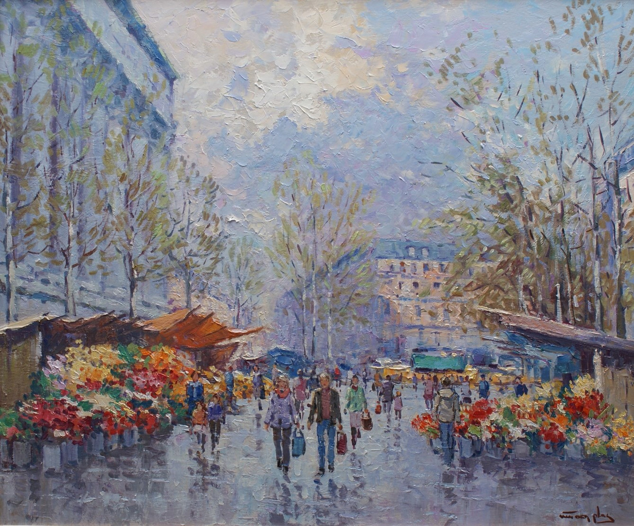 Bloemenmarkt bij La Madeleine Parijs