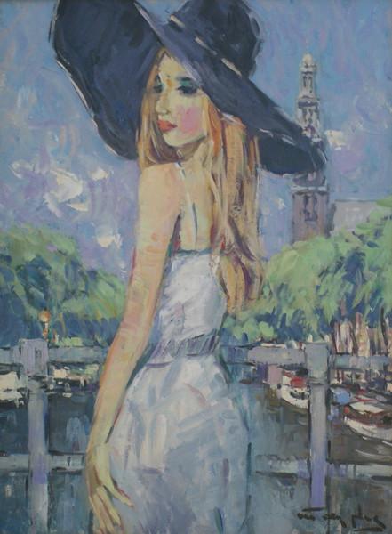 Meisje bij de Prinsengracht Amsterdam
