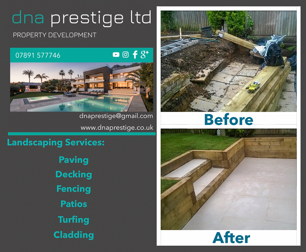 Landscaping, fencing, patio, paving, turfing, drainage, decking