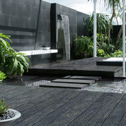 calming zen garden with composite deckin