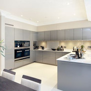 Contemporary kitchen with adjoined island