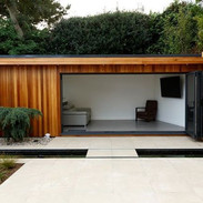 Gloss Cherry Summerhouse with Bi-Fold do